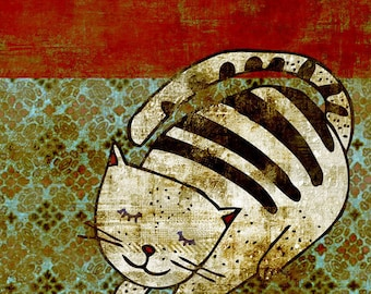 CAT art print // cute cat illustration // home decor // red green digital print