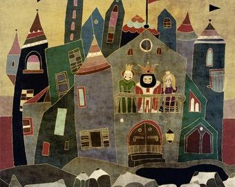 CASTLE art print - grey children illustration // nursery wall decor