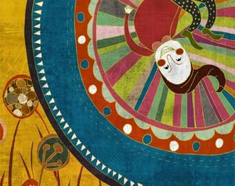 PAMPILLO 2. art print // blue yellow illustration // elf and flowers
