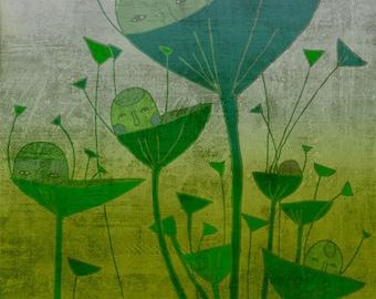 MORNING art print // green illustration // nature, plants // home decor