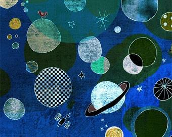 PLANETS art print // blue sky illustration // astronomy // boys room decoration