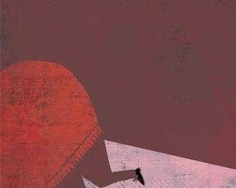 LOSE CONTROL art print // red //funny illustration