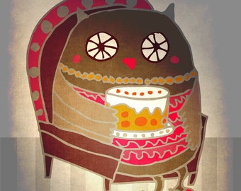 OWL GRANDMA art print // owl granny with cake // wall art // home decor
