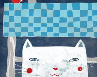 KITCHEN AT NIGHT art print // digital illustration // blue white cat home decor