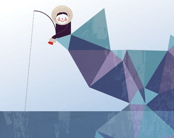 ESKIMO art print  // blue // cute eskimo kid fishing // geometric illustration
