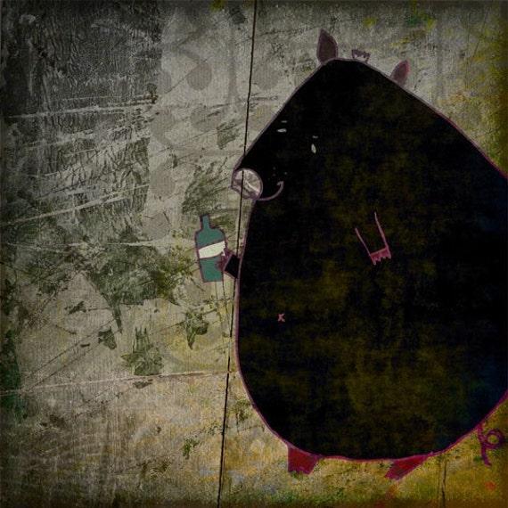 DRUNK PIG - funny black art print // digital illustration