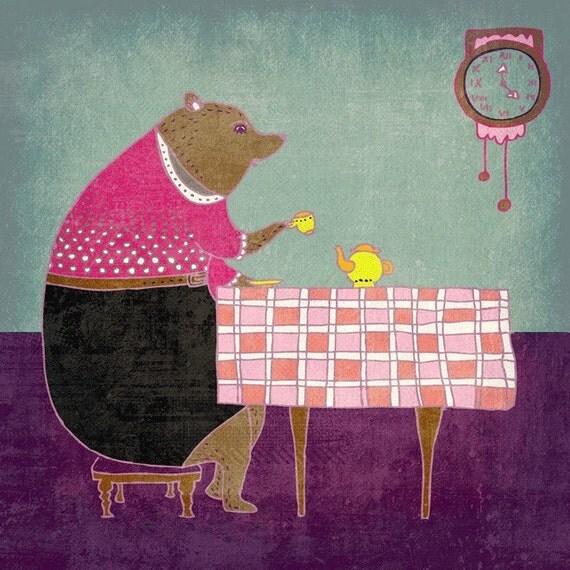 AFTERNOON TEA - pretty art print // bear lady illustration // tea pink purple // home decor