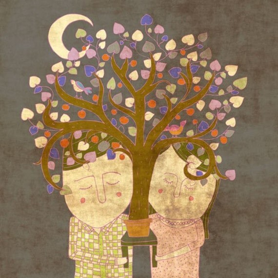 The TREE OF LOVE - art print // digital illustration // couple, tree, leaves, purple, brown