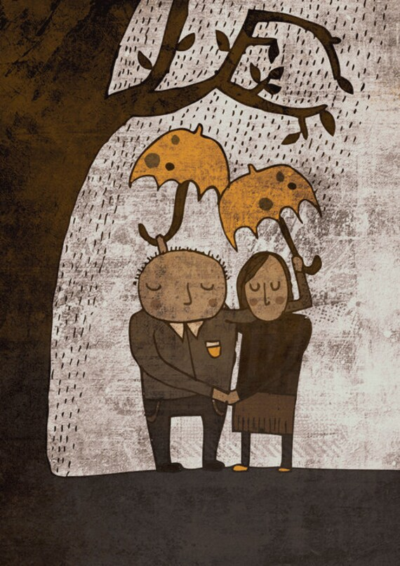 ALWAYS TOGETHER art print // brown and yellow couple illustration // love rain tree