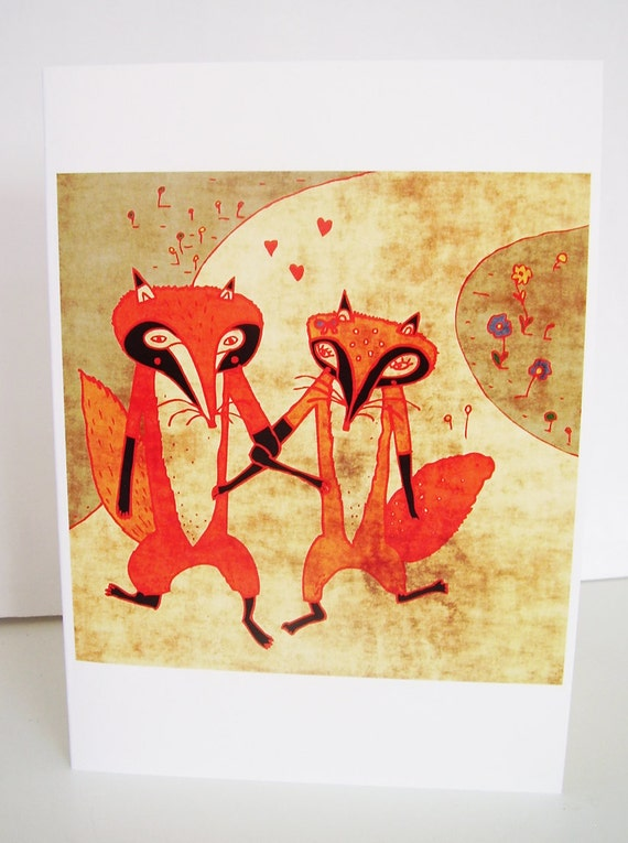 Foxes in love card // lovely fox couple greeting card