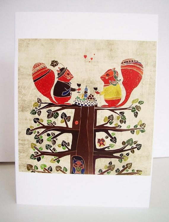Squirrel picnic card // cute greeting card