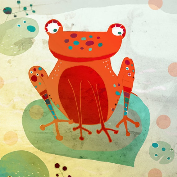 FROG art print // orange animal illustration // nursery wall decor