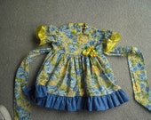 Blue n yellow Toddler party dress w/matching bloomers
