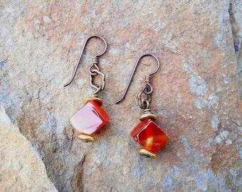 Earrings Red Carnelian Stone Dangle Jewelry with Hypo Allergenic Niobium Ear Wires