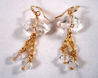 Herkimer Diamond Earrings Gold Filled Wire Wrapped with Swarovski Crystals Dangle Bridal