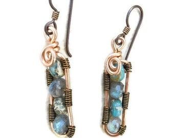 Earrings Copper Jewelry Bohemian Wire Wrapped Dangle Labradorite and Jasper Stones Hypo Allergenic Niobium Ear Wires