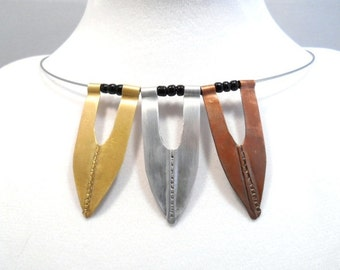 Mixed Metal Necklace Fashion Jewelry Fold Formed Architectural Necklace Tribal Neck Wire Contemporary Copper Brass Aluminum
