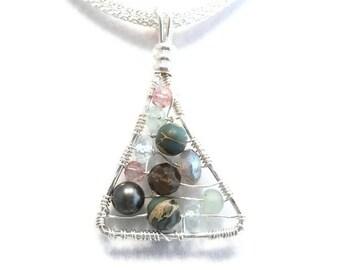 Wire Wrapped Jewelry Natural Gemstone Pendant Labradorite Aquamarine Black Pearl Amethyst Smokey Quartz Aqua Terra Jasper
