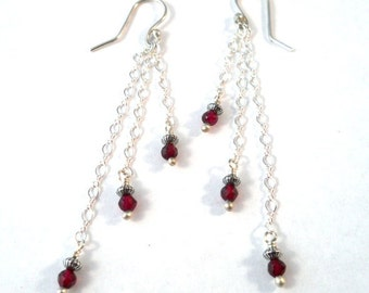 Gemstone Jewelry Red Garnet Sterling Silver Long Dangle Earrings