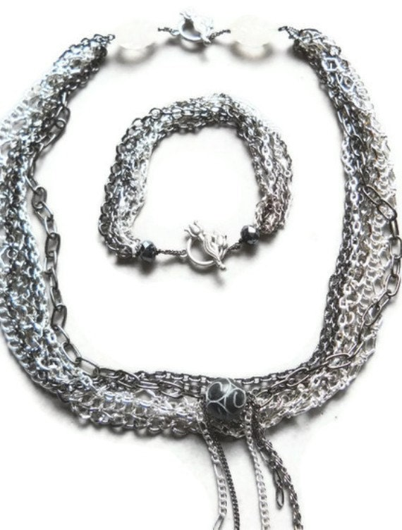 Statement Necklace Multi Strand Chain Necklace Bracelet Combination Convertible Jewelry