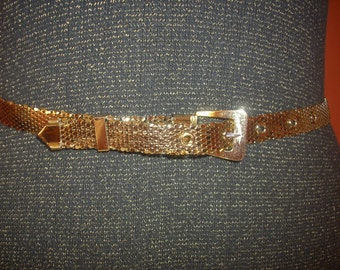 Whiting and Davis Ladies Belt 80's Disco Mod Mesh Shiny Rare