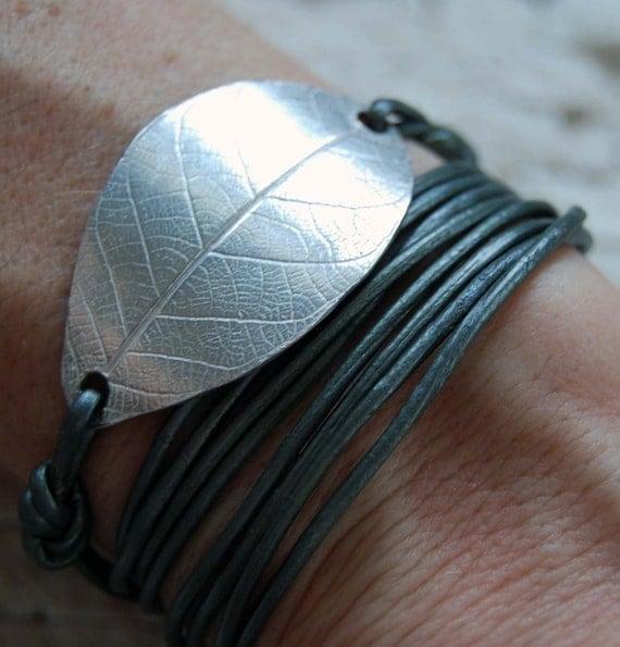 Fine Silver leaf Leather Bracelet/Necklace,fall, foliage, nature, metallic, wrap, chunky