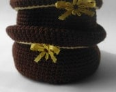 Set of 2 storage baskets-Handmade-Brown with Daisy-for jewelry storage or small items