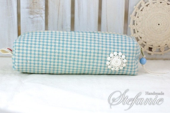 Candy Series, Zippered Pouch, Pencil Case - White Circle Flowers On Blue Gingham