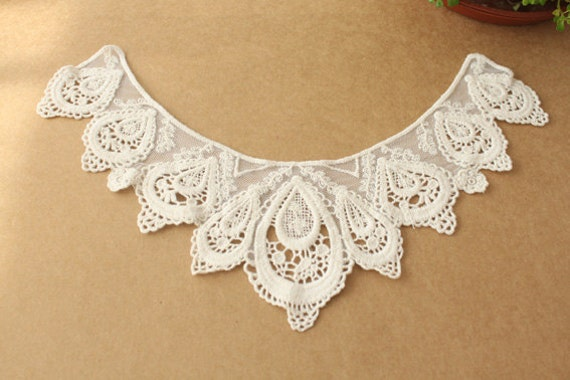 Sewing Supplies, Findings - Bobbin Victorian Peacock Floral Ivory Lace Collar