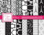 Black Digital Paper Pack Damask Patterns Printable Paper Paris Black and White Frames Lace Paris Clip Art instant download