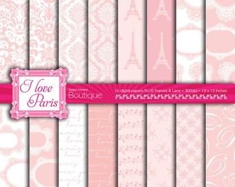 Pink Digital Paper Pack Paris Pale Pink Damask Patterns Parisian Chic Vintage Weddings Love Frames Lace Clipart