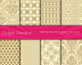 Gold Digital Paper Pack Damask Cream Instant Download Printable Christmas Party Invitation Golden Wedding DIY Wedding Great Gatsby