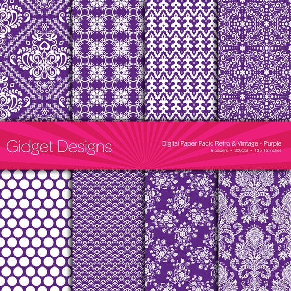 Purple Digital Paper Pack Damask Instant Download Printables Purple Damask Purple Scrapbooking