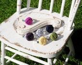 Womens Fabric Rosette Metal Cuff Bracelet
