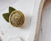 Yellow Patterned Handrolled Wool Rosette Flower Clip