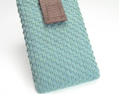 iPhone 4 case iPhone 4S case iPhone 4 sleeve iPhone 4S sleeve / cover - Teal blue fabric burgundy leather