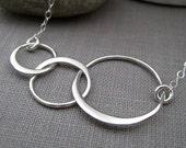 Sterling silver eternity necklace, three interlocking circle link, eternity necklace, lightweight, geometric