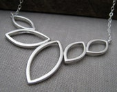 Silver Wind Necklace-sterling silver chain, Unique marquis pendant