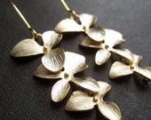 Gold Orchid Earrings, orchid flower cascade earrings, bridal earrings, long earrings, On SALE