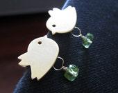 Cute Bird earrings, gemstone & bird earrings, peridot earrings, flower girl earrings, flower girl jewelry, adorable bird earrings