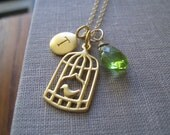 birdcage charm  necklace, personalized jewelry, cute birdcage charm, birthstone initial necklace