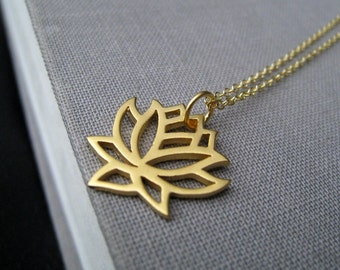 Lotus necklace, yoga jewelry, silver or gold