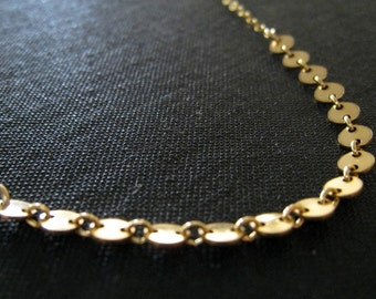 gold disc chain necklace, tiny gold disc layered necklace,  also in sterling silver, eternity, nymetals, modern chic