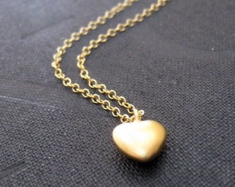 Gold heart necklace, teeny tiny gold heart charm,14k gold filled chain, bridesmaid jewelry, bridal partygifts