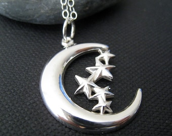 Moon and stars necklace, luna necklace, crescent moon and stars, celestial jewelry, sterling silver moon pendant