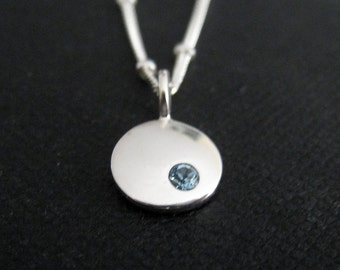Birthstone necklace, sterling silver birthstone charm, satellite fancy chain, birthstone disc, birthday gift for her