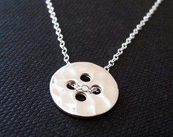 Button necklace, Cute as a button, sterling silver charm necklace, flower girl necklace