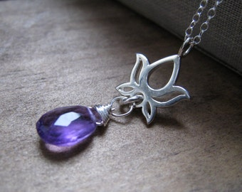 Petite Lotus necklace with  gemstone, sterling silver, purple amethyst, yoga jewelry, custom gemstone selections