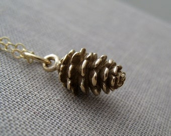 Pinecone necklace, gold charm necklace, small antique bronze pinecone charm with 14k gold filled chain, fall weddings