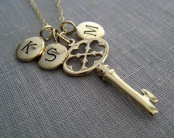Engraved Key necklace, antique key & initial necklace, personalized key necklace, golden bronze key pendant